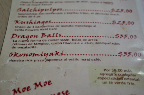 el menu del restaurante